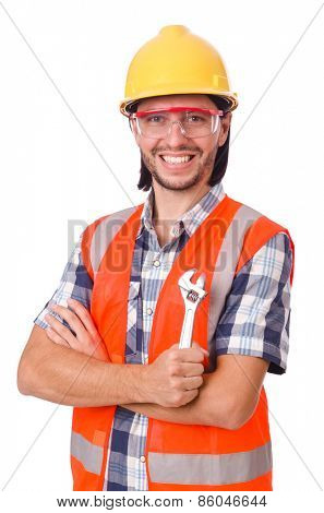 Foreman with spanner isolated on white