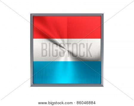 Square Metal Button With Flag Of Luxembourg