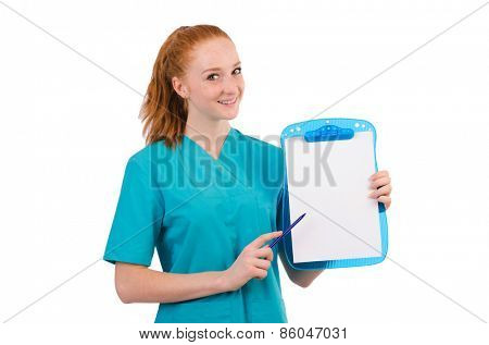Careful nurse isolated on white
