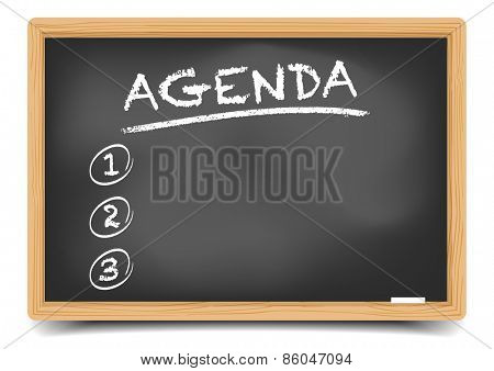 detailed illustration of a blackboard with Agenda, eps10 vector, gradient mesh included