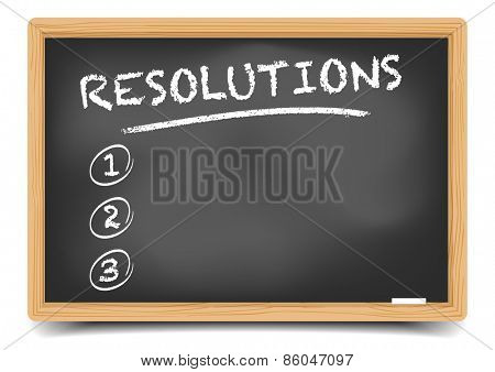 detailed illustration of a blackboard with an empty resolutions list, eps10 vector, gradient mesh included