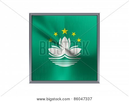 Square Metal Button With Flag Of Macao
