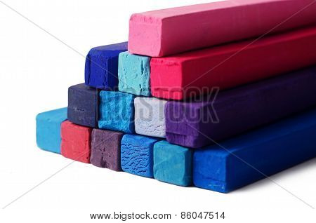 Art Objects Background - Red,blue,violet And Purple Pastel Colorful Crayons On White Background