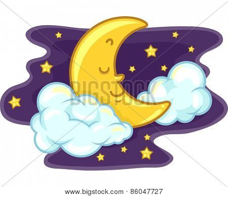 Mascot Illustration of the Moon Sleeping Peacefully