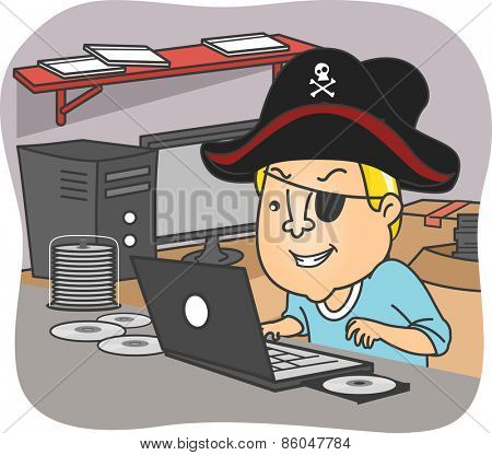 Illustration of a Man Wearing a Pirate Hat Illegal Downloading Files from the Internet
