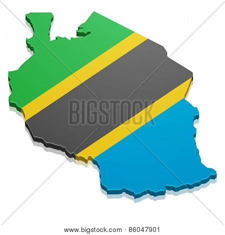 detailed illustration of a map of Tanzania with flag, eps10 vector