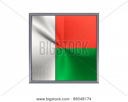 Square Metal Button With Flag Of Madagascar