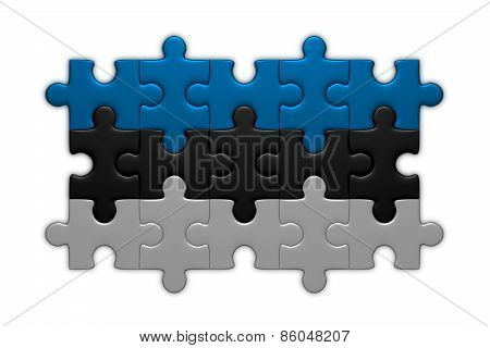 Estonian Flag Of Puzzle Pieces