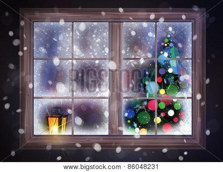 Winter Christmas scene.