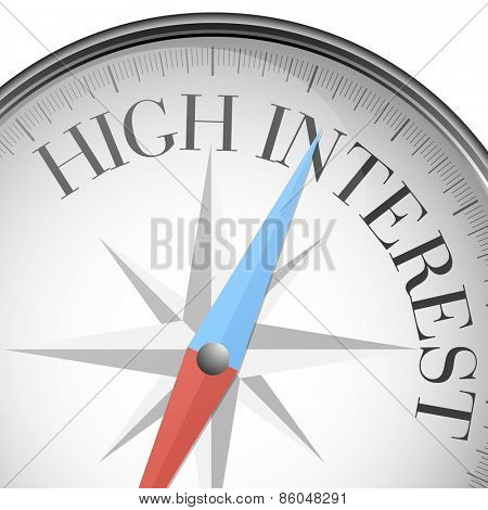 detailed illustration of a compass with high interest text, eps10 vector