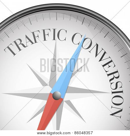 detailed illustration of a compass with traffic conversion text, eps10 vector