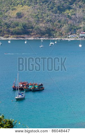 Fishing Boat In Sea Phuket Thailand