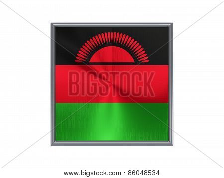 Square Metal Button With Flag Of Malawi