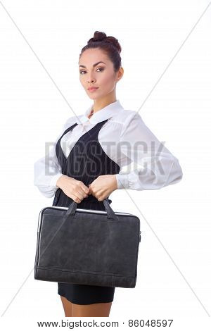 Confident Businesswoman With Briefcase. All isolated on white background.