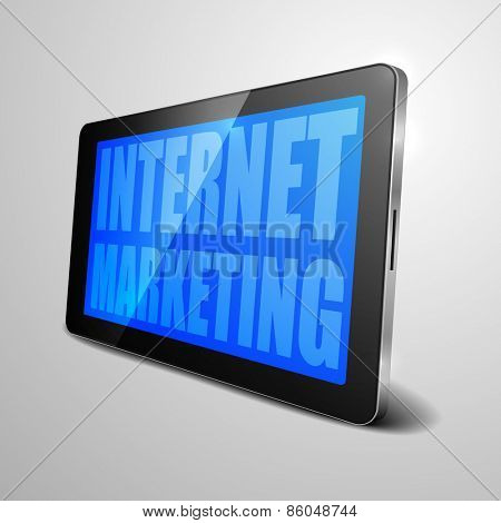 detailed illustration of a tablet computer device with Internet Marketing text, eps10 vector