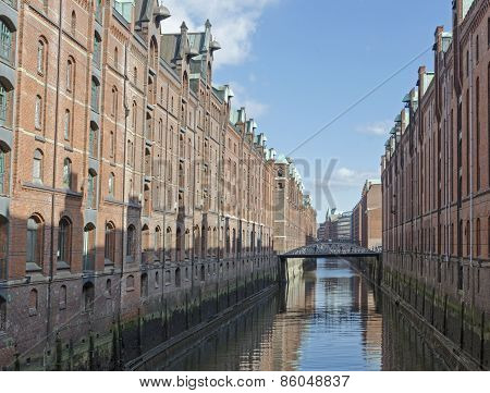 Hamburg city Famous old harbor warehouses ,germany