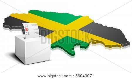 detailed illustration of a ballotbox in front of a map of Jamaica, eps10 vector