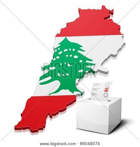 detailed illustration of a ballotbox in front of a map of Lebanon, eps10 vector