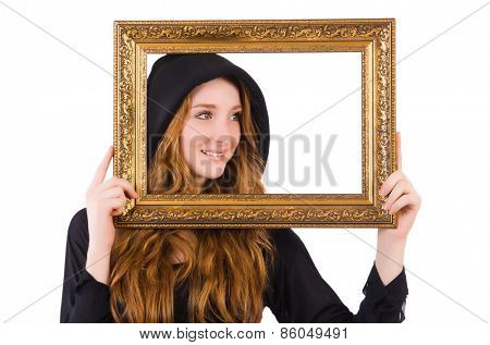 Cute witch with frame picture isolated on white