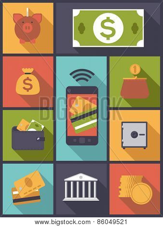 Money and Finance icons vector illustration. Vertical flat design illustration with various money and finance symbols.