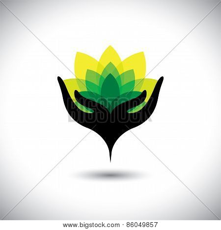 Eco Concept Graphic Of Girls Hand With Fresh Vibrant Leaves - Vector Icons