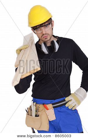 Tired Worker With Woods