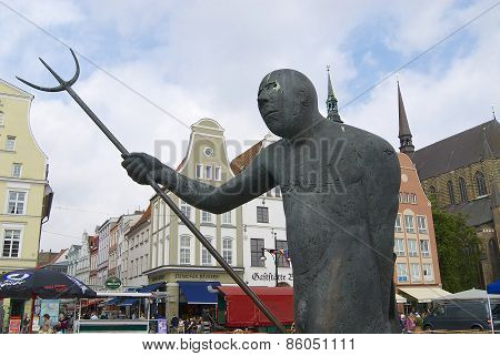 Exterior of the statue at the New Market square in Rostock, Germany.
