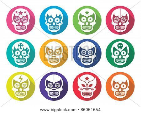 Lucha Libre - Mexican sugar skull masks flat design
