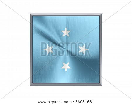 Square Metal Button With Flag Of Micronesia