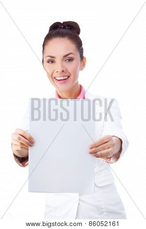 Smiling businesswoman holding blank whiteboard sign. All isolated on white background.