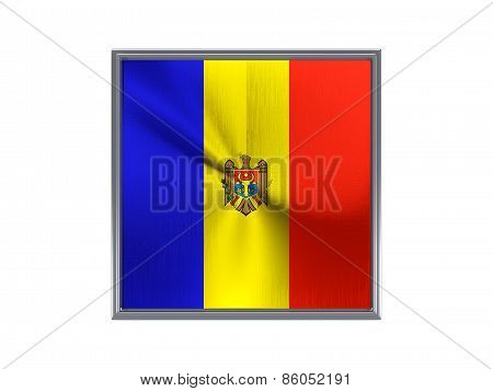 Square Metal Button With Flag Of Moldova