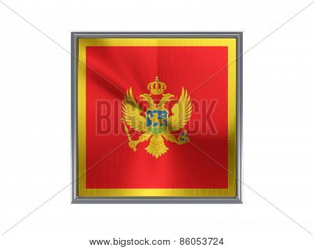 Square Metal Button With Flag Of Montenegro