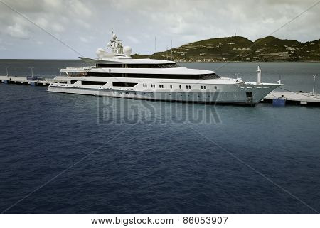 Super Yacht moored at Saint Maarten