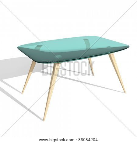 Glass table on white background.