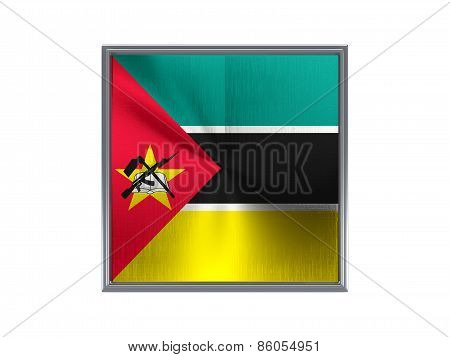 Square Metal Button With Flag Of Mozambique