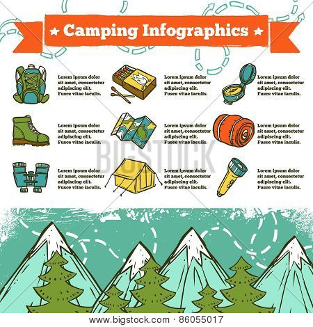 Camping Infographics Sketch