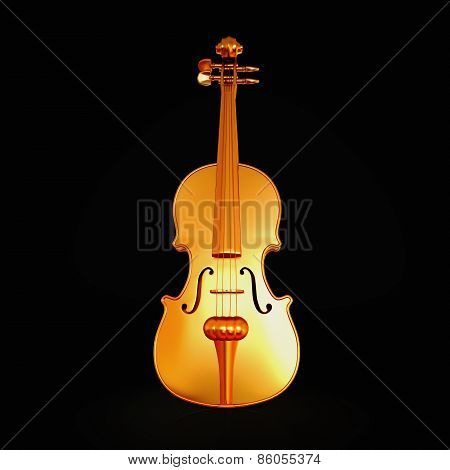 Traditional  Golden Violin  Isolated  On Black Background.