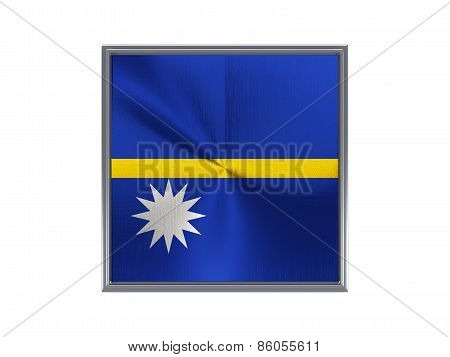 Square Metal Button With Flag Of Nauru