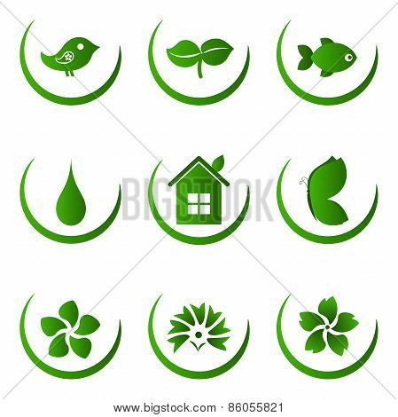 Green ecology and nature icons set