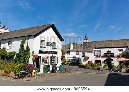 Hawkshead village pub and shop in the Lake District England uk on a beautiful sunny summer day