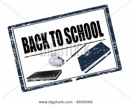 Back To School Stamp Black