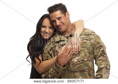 Young Couple Against White Background