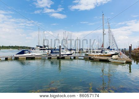 Lymington Marina, Hampshire England uk sailing boats in the summer sun and beautiful calm weather