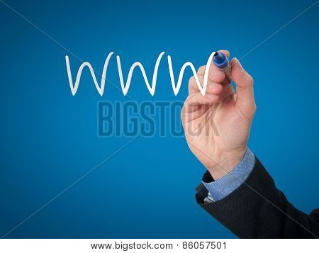 Businessman writing WWW for build his business. Stock Photo