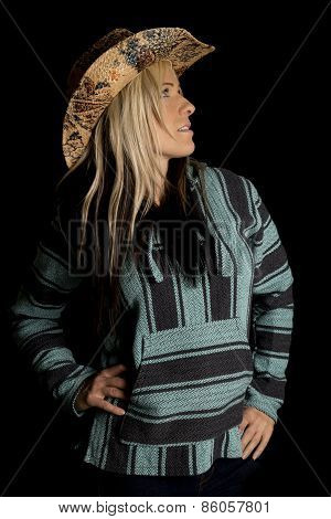 Cowgirl In Blue And Black Poncho Look Up Side