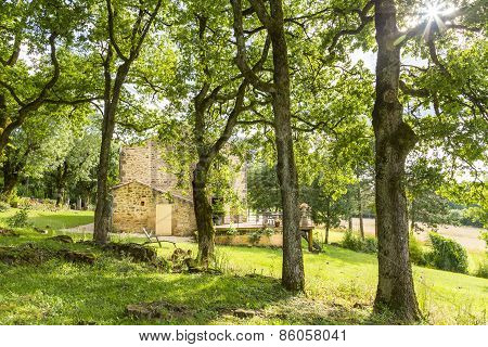 Old Stone Country House In The South Of France, Viewed Through T