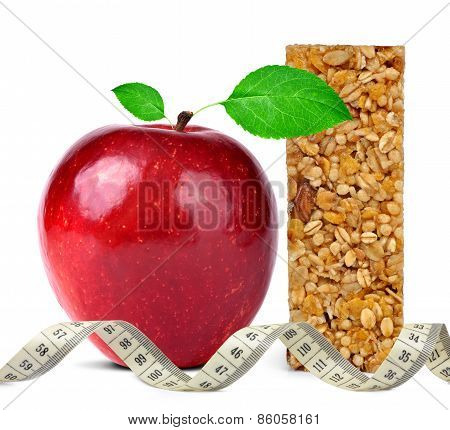 Muesli Bars with apple and measuring tape