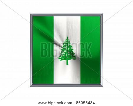 Square Metal Button With Flag Of Norfolk Island