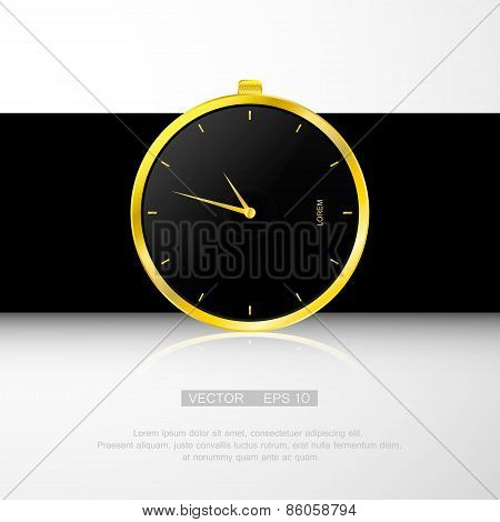 Gold watch , black clock face. Classical modern watch.