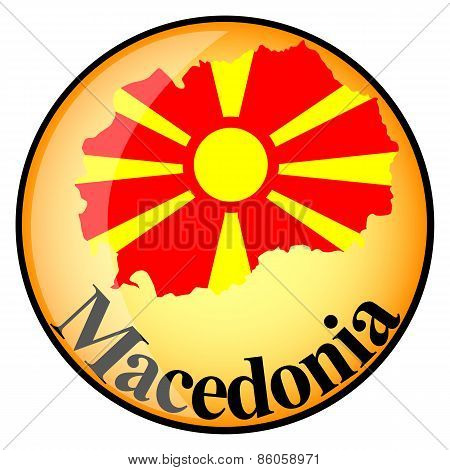 Orange Button With The Image Maps Of Macedonia
